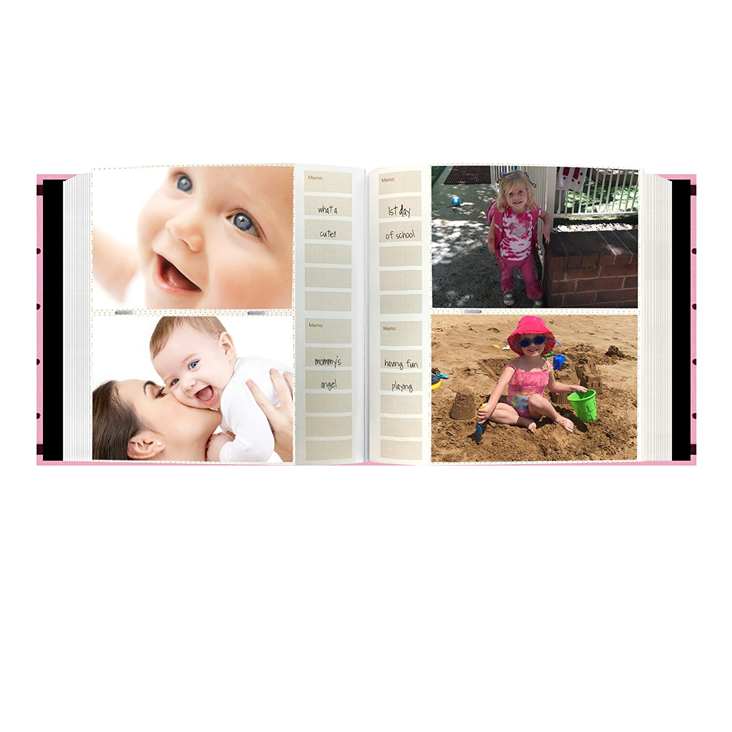 Baby Pink Pioneer Embroidered 200 Pocket Frame Fabric Cover Photo Album
