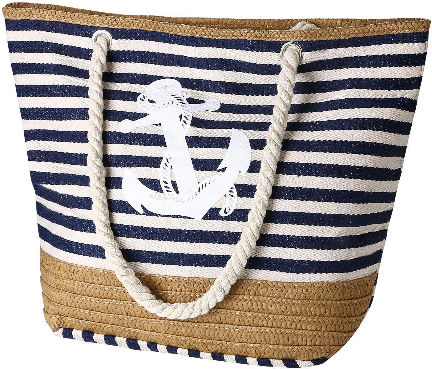 flintronic® Bolsa de Playa para Mujer, Totalizador de Lona de Verano, Bolso Grande con Asa de Cuerda para Playa, día de Fiesta, Compras, Viajes Diseño del Patrón de Anclaje - La Marina