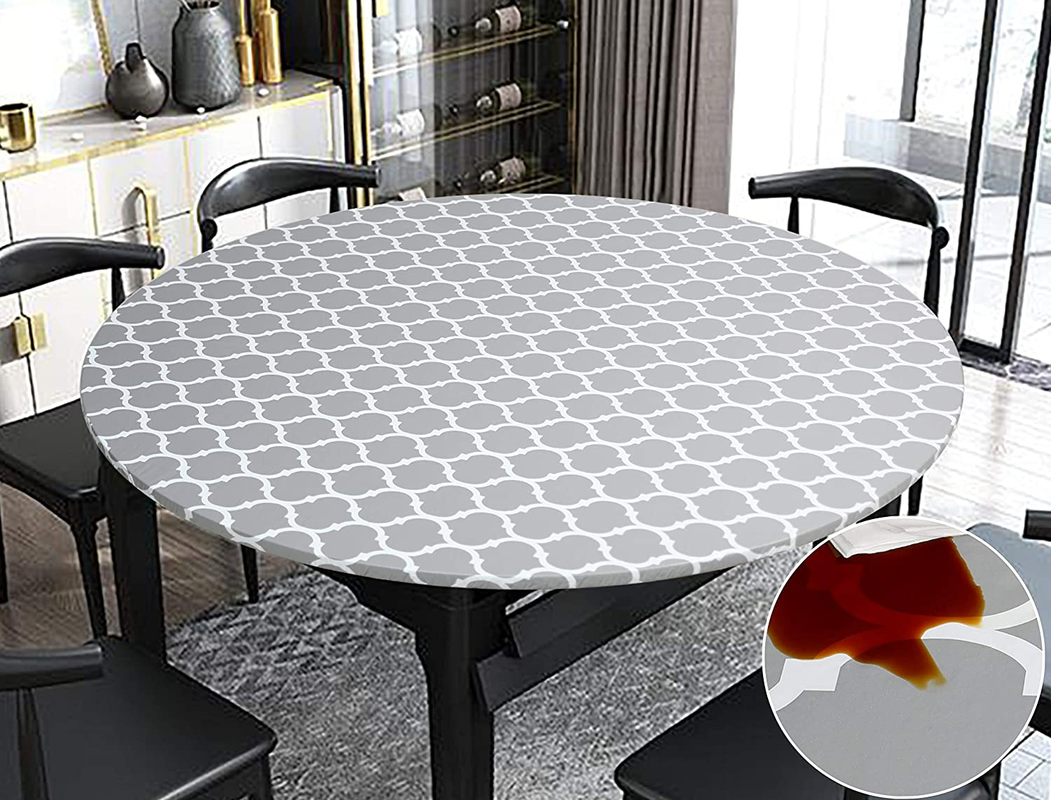 Rally Home Goods Indoor Outdoor Patio Round Fitted Vinyl Tablecloth, Flannel Backing, Elastic Edge, Waterproof Wipeable Plastic Cover, Gray Moroccan Trellis Pattern for 5-Seat Table 36-44'' Diameter