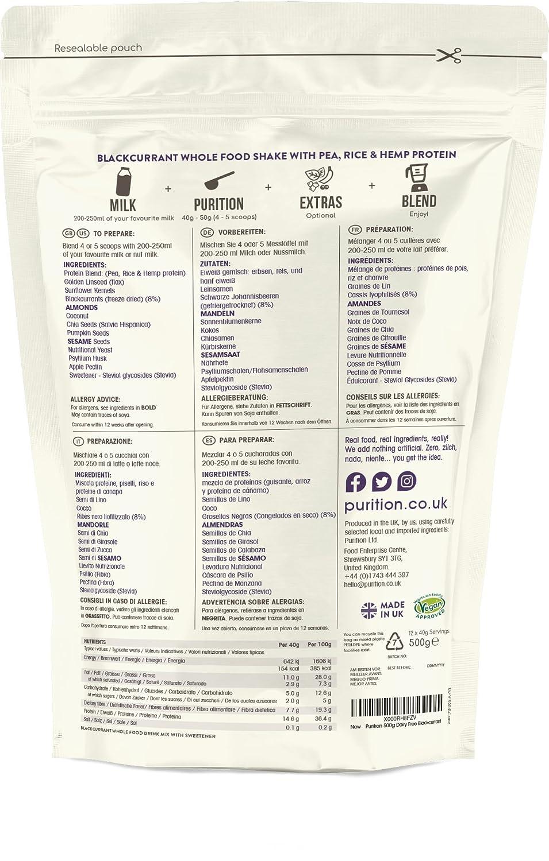Purition Batido de proteínas veganos de Grosella Negra 500g). Batido para el desayuno sin lácteos: Amazon.es: Salud y cuidado personal