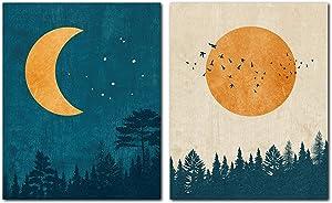 LIYA Design Prints, Sun and Moon Wall art Prints -Unframed Set of 2 (8x10 Inch)- Sun and Moon Wall Decor, Blue Abstract Modern Wall Art Decor Poster Prints for Home Room Bedroom Livingroom