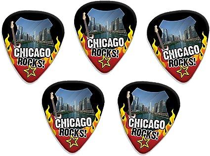 Chicago Rocks 5 X USA City Púas Para Guitarra: Amazon.es ...
