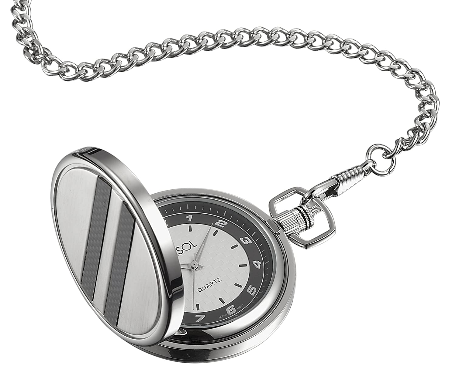 Amazon.com: Visol Turbo White Dial Carbon Fiber & Stainless Steel Pocket Watch: Watches