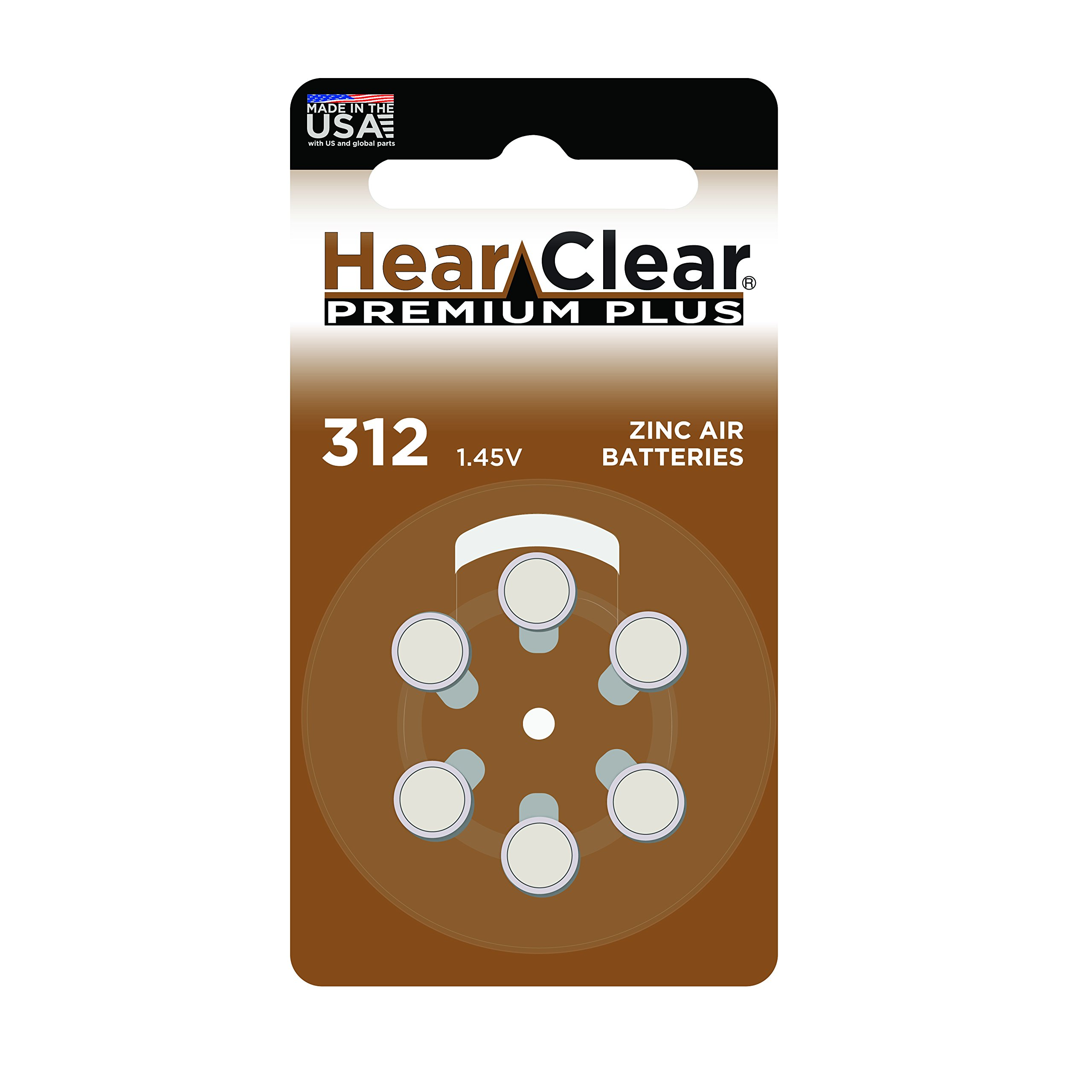 HearClear Hearing Aid Batteries Size 312 , PR41 (60 Batteries)