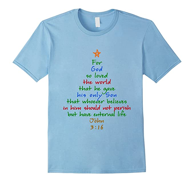 mens for god so loved the world bible verse christmas tree tshirt 2xl baby blue