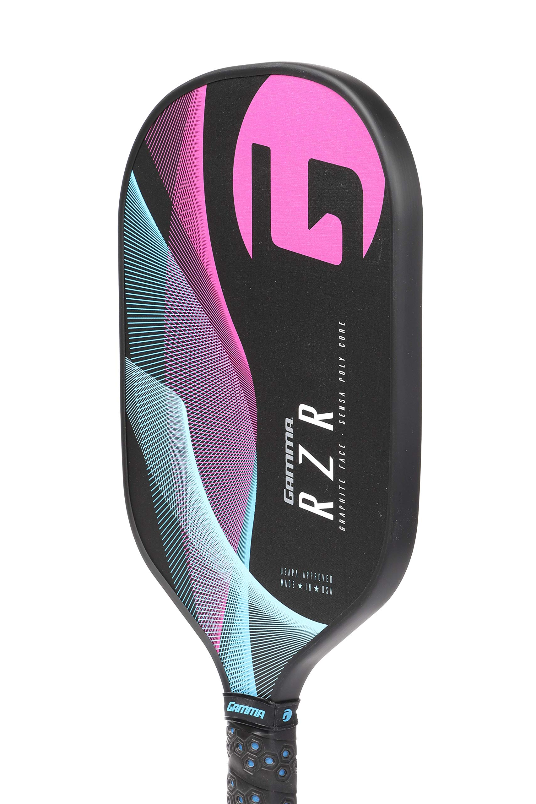 Gamma RZR Composite Pickleball Paddle: Pickle Ball Paddles for Indoor & Outdoor Play - USAPA Approved Racquet for Adults & Kids - Pink/Blue by Gamma (Image #3)
