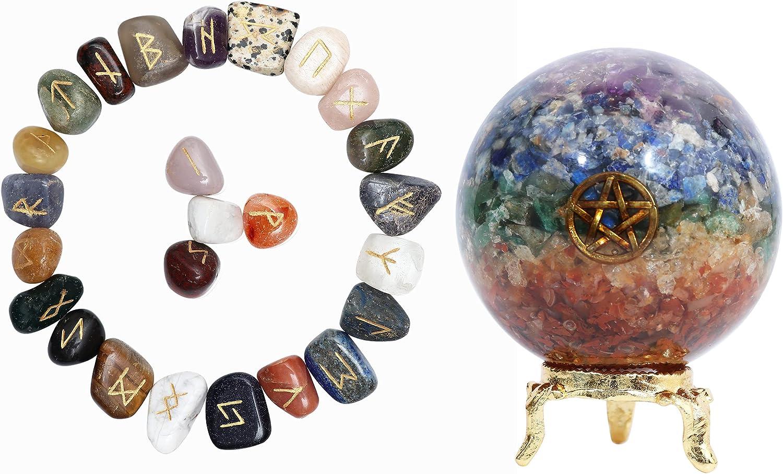 Shawn Mix Chakra Rune with Engraved Elder futhark Symbol + Gemstone orgone Ball for Reiki Healing Crystal Home Office Kitchen décor Gift