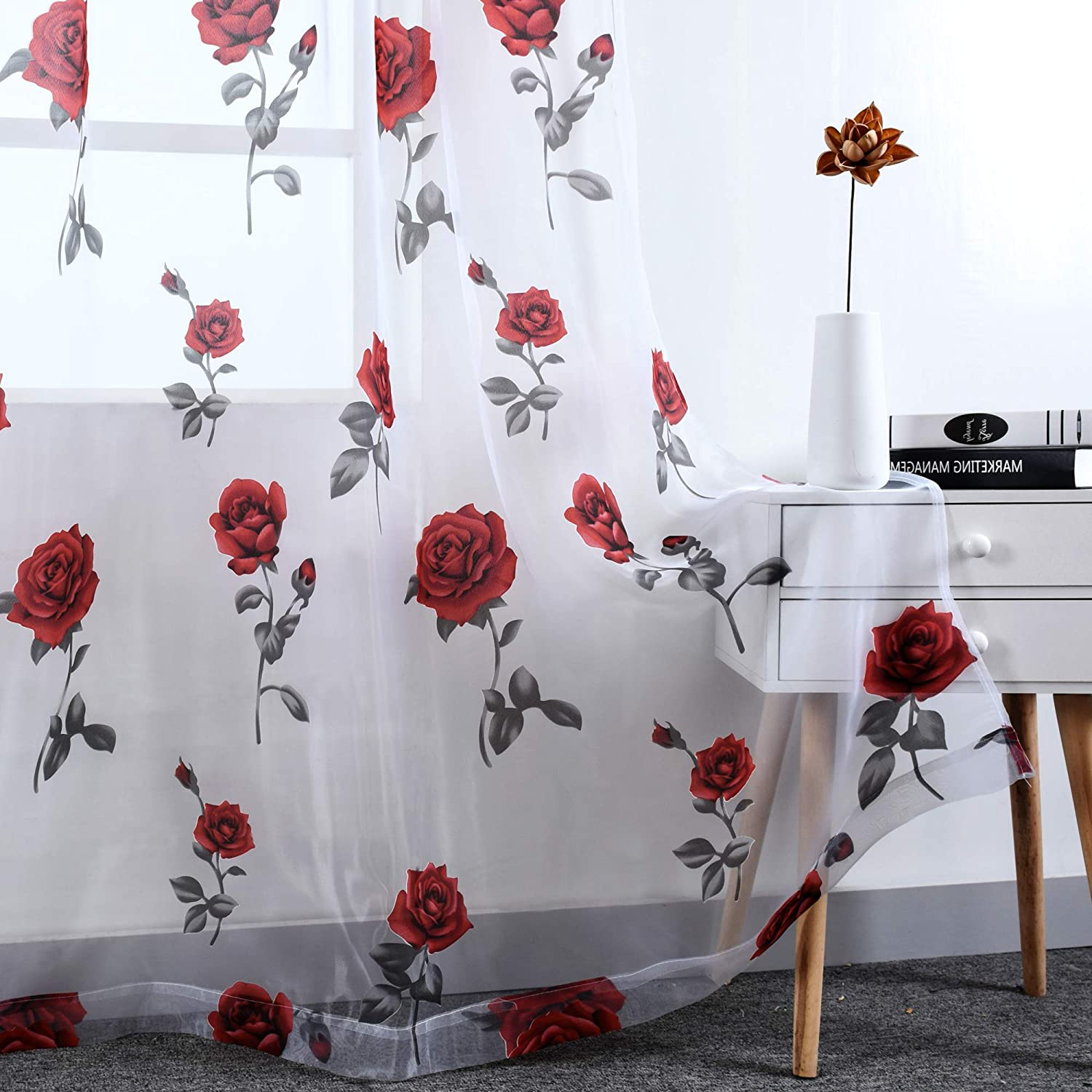 Amazon Com Christmas Red Rose Burnout Sheer Curtains For Living Room 96 Inches Long Transparent Curtain Panels Sheer Drapes For Girls Bedroom Rod Pocket 2 Panels 52 By 96 Inch Length Kitchen Dining