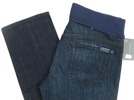 e8b64a967fbd6 Seven 7 For All Mankind Maternity Jeans Straight Leg LA Dark 31 Medium NWT  (31