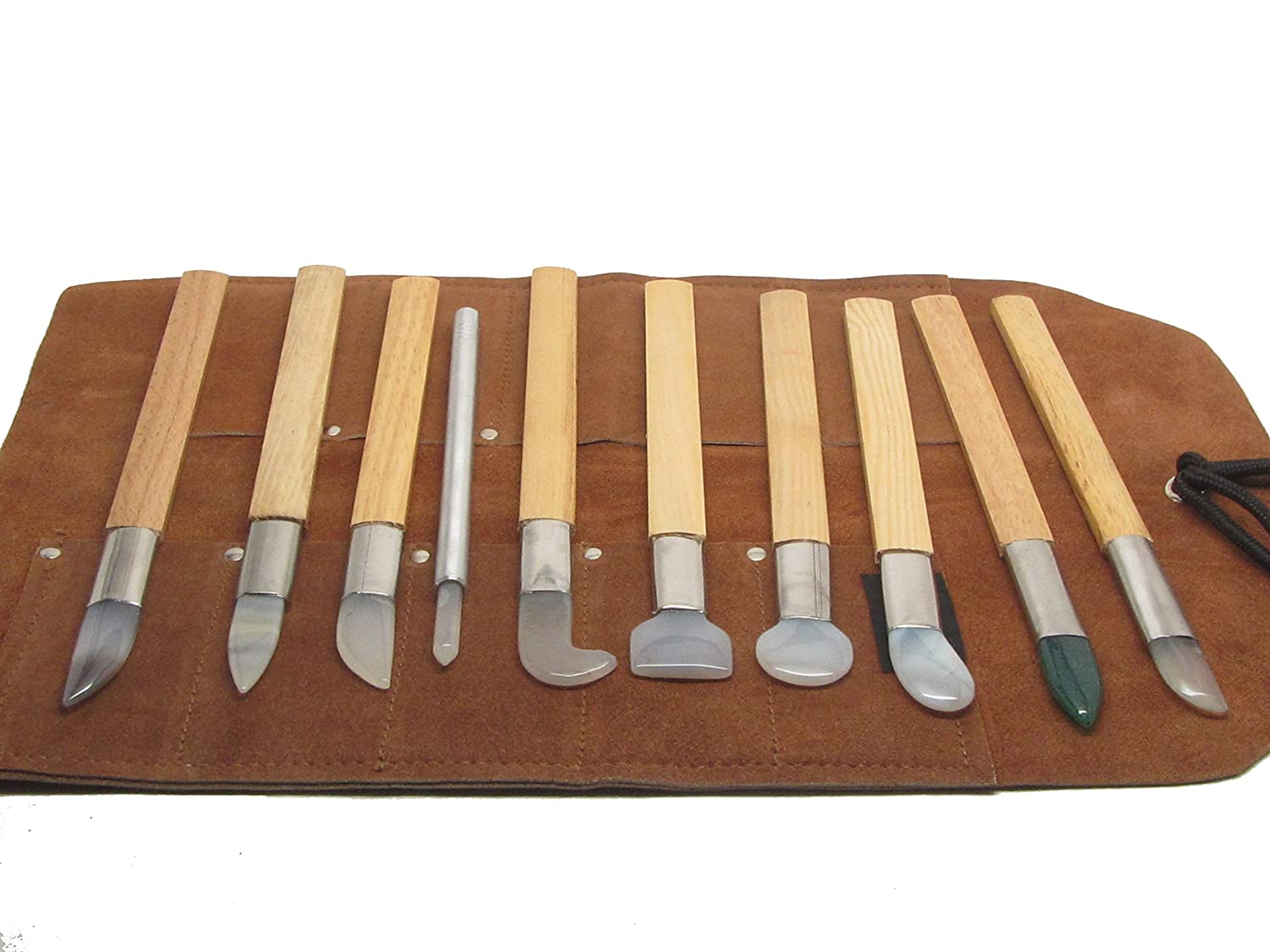 Agate Burnishers - 10 pc Set - Includes Leather Tool Roll - Bezel Gold Silver Leaf Tools for Bookbinding, Jewelry, Metal, Clay, Keeum-Boo UJ Ramelson Co