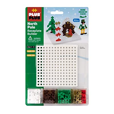 PLUS PLUS - Baseplate Builder - Holiday North Pole - Base Accessory for Building and displaying Creations - Construction Building STEM | STEAM Toy, Interlocking Mini Puzzle Blocks for Kids: Toys & Games