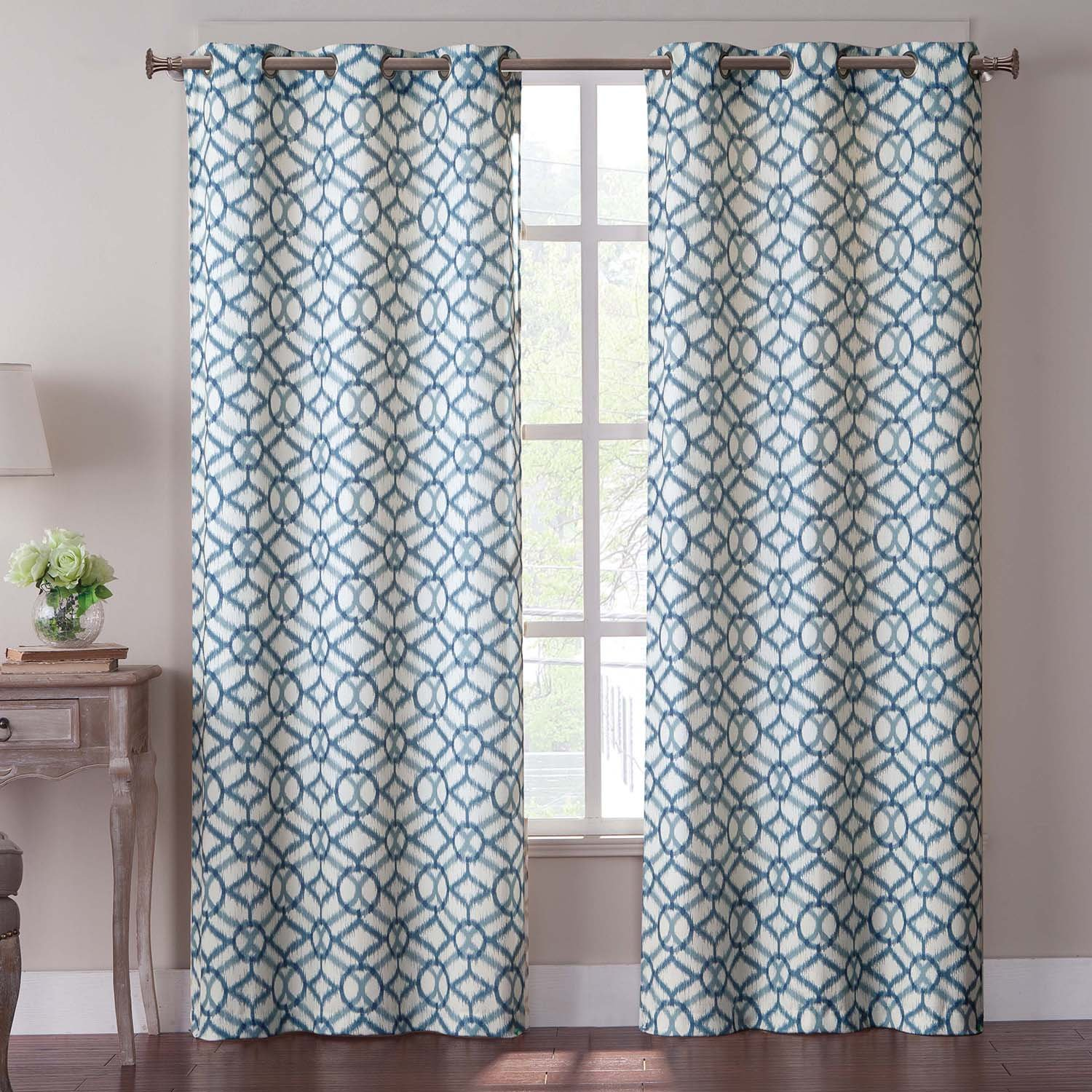Turquoise curtain panels - Amazon Com Vcny Tangiers Grommet Panel Pair 40 By 84 Inch Blue Home Kitchen