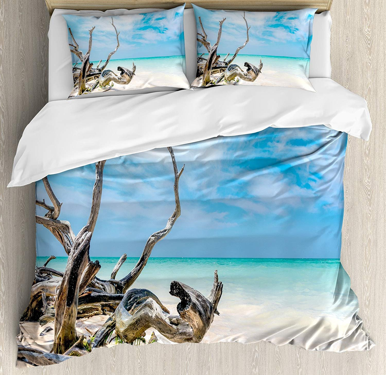Driftwood Bedding Duvet Cover Sets for Children/Adults/Kids/Teens Twin Size, Seascape Theme Branches on The Sandy Beach of Cuba and The Sky Image, Hotel Luxury Decorative 4pcs Set, Turquoise Sky Blue