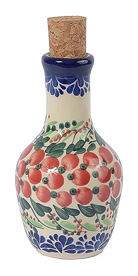 Tradicional aceite de oliva de cerámica polaco Pottery, hecho a mano o vinagre botella 130 ml, Boleslawiec estilo patrón, v.301 Cranberry Collection: ...