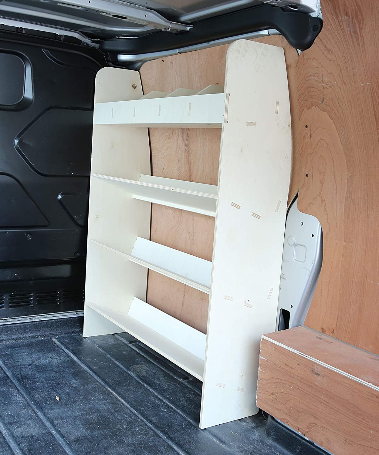 Lightweight Vanify Ford Transit Custom SWB Plywood Racking OS Angled Front