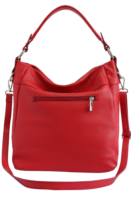 AmbraModa GL030 – dam äkta läderväska handväska axelväska axelväska röd