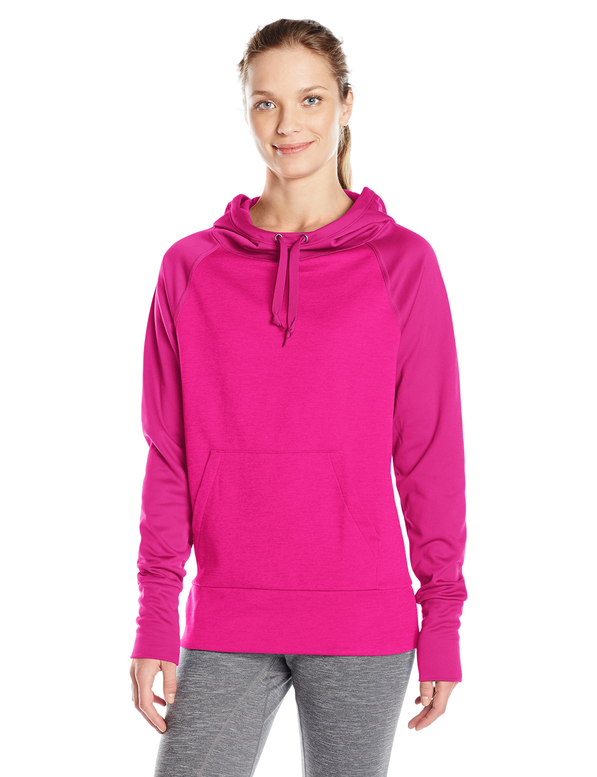 Hanes Women's Sport Performance Fleece Pullover Hoodie, Fresh Berry Solid/Fresh Berry Heather, 2XL by Hanes