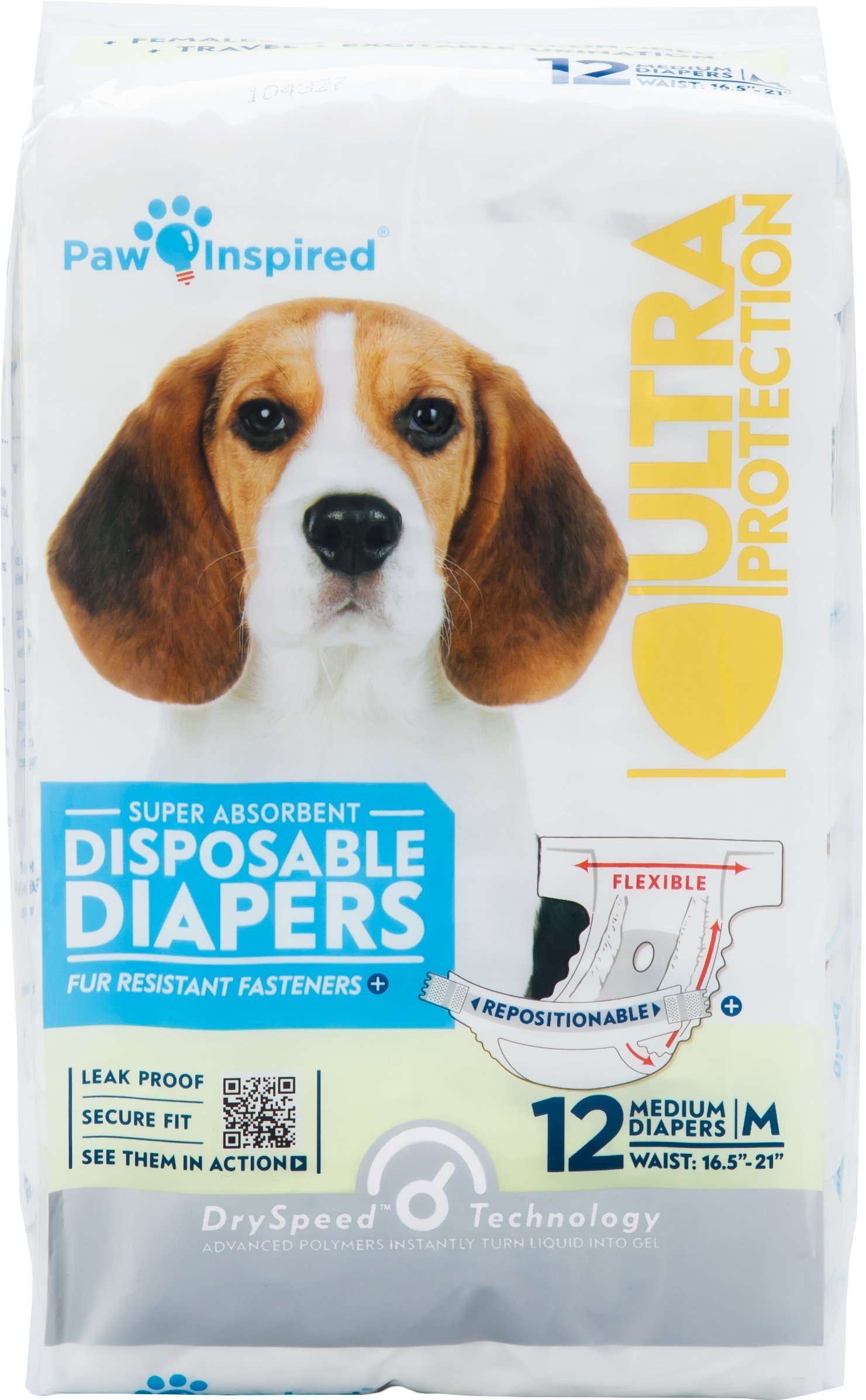 Paw Inspired Ultra Protection Disposable Dog Diapers, Female, Medium, 12 Count