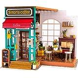 Robotime Miniature Dollhouse DIY Wooden Dollhouse Kit Birthday  Girls Women (Simon's Coffee)