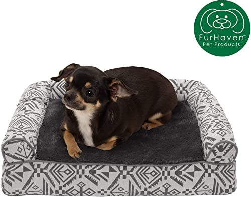Furhaven Pet Dog Bed Therapeutic Sofa-Style Traditional Living Room Couch Pet Bed w Removable Cover for Dogs Cats - Available in Multiple Colors Styles