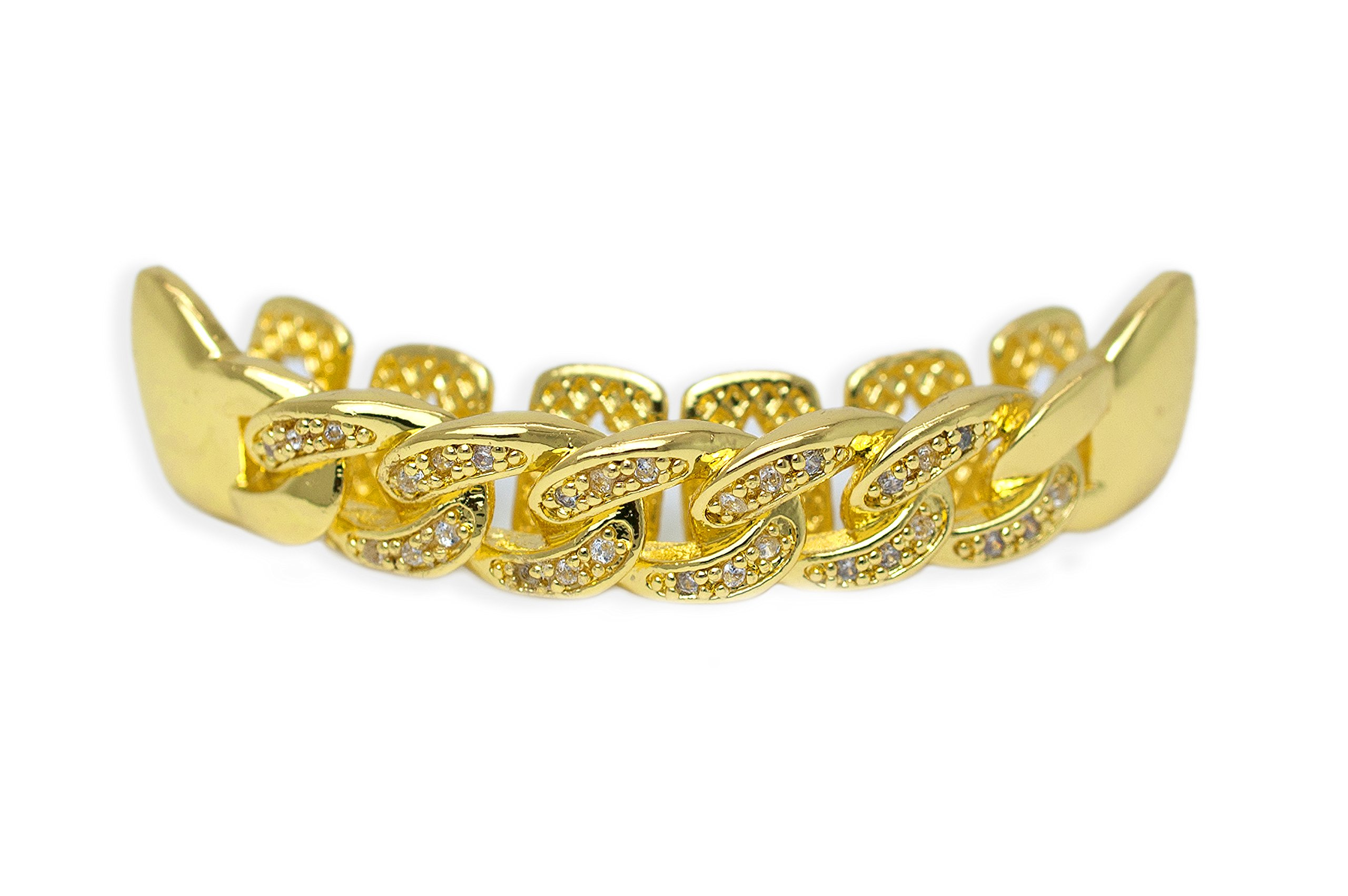 Yellow Gold-Tone Iced Out Hip Hop Bling Open Face Cubic Zirconia (CZ) Cuban Link Removable Grill Grillz Combo Set with Mold Bar by iRockBling (Image #2)