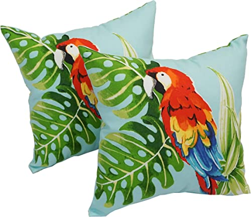 Blazing Needles Spun Polyester 17-inch Outdoor Throw Pillows Set of 2 Parrot Palm