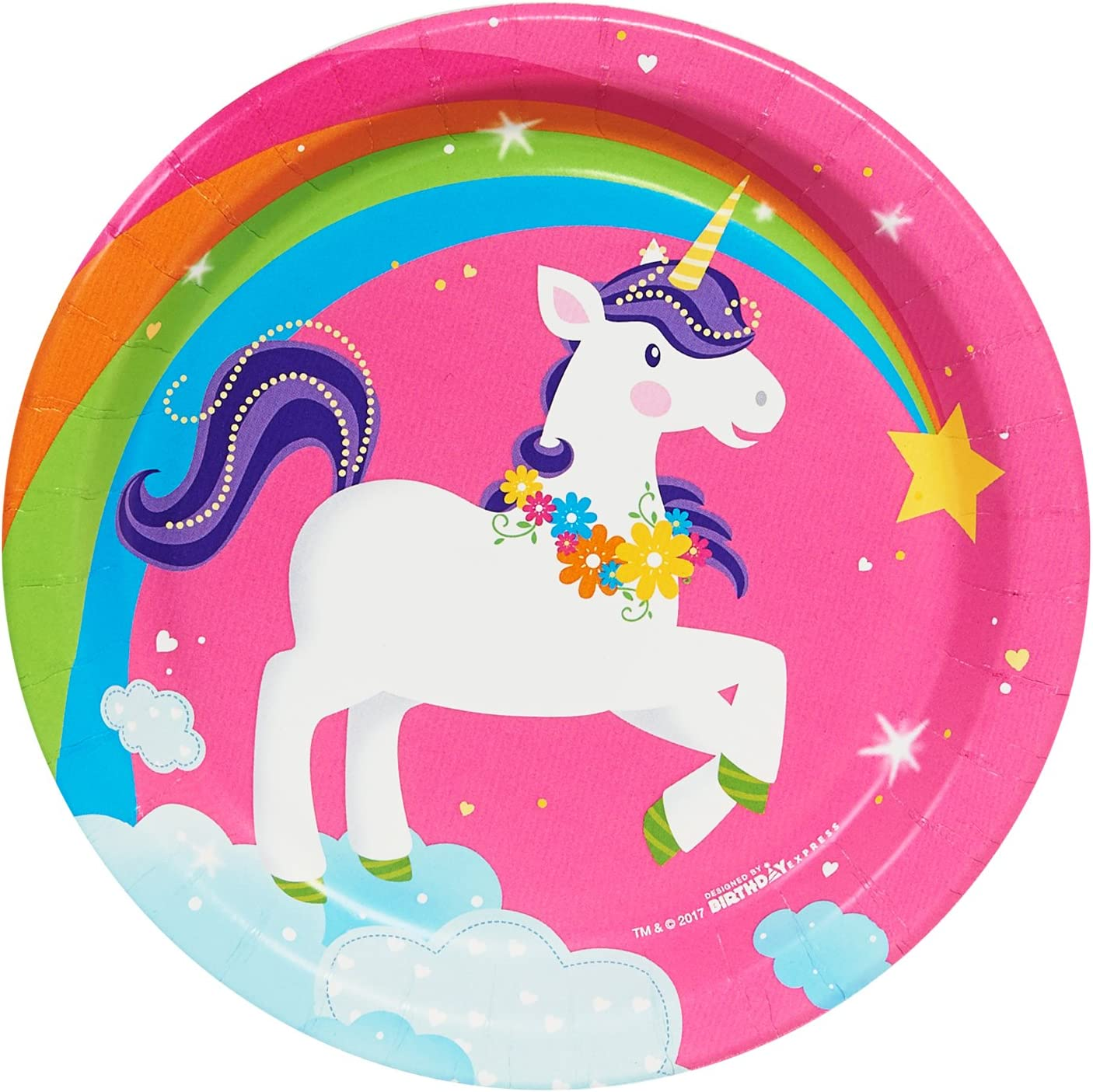 Unicorn Paper Plates for 30 Guests and Up