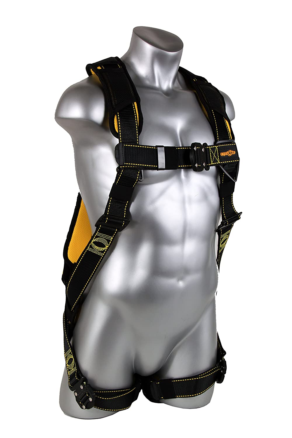 Black//Yellow Guardian Fall Protection 21046 Cyclone Harness with QC Chest//QC Leg//No Waist Belt//Non Construction