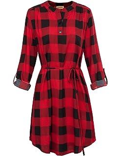 7d42a7d5f5f Kate Kasin Women Roll Up Sleeve Casual Tunic Mini Plaid T Shirt Dresses  KKAF1057