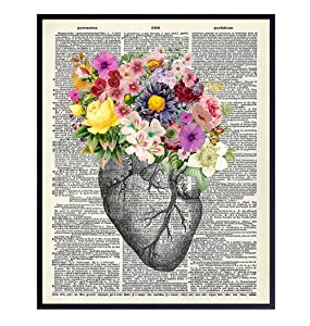 Heart Flowers Dictionary Decor - Wall Art Print - Steampunk Chic Home Decor for Medical Clinic, Dr Office- Great Gift for Doctors, Cardiologists, Nurses - Unframed 8x10 Vintage Photo