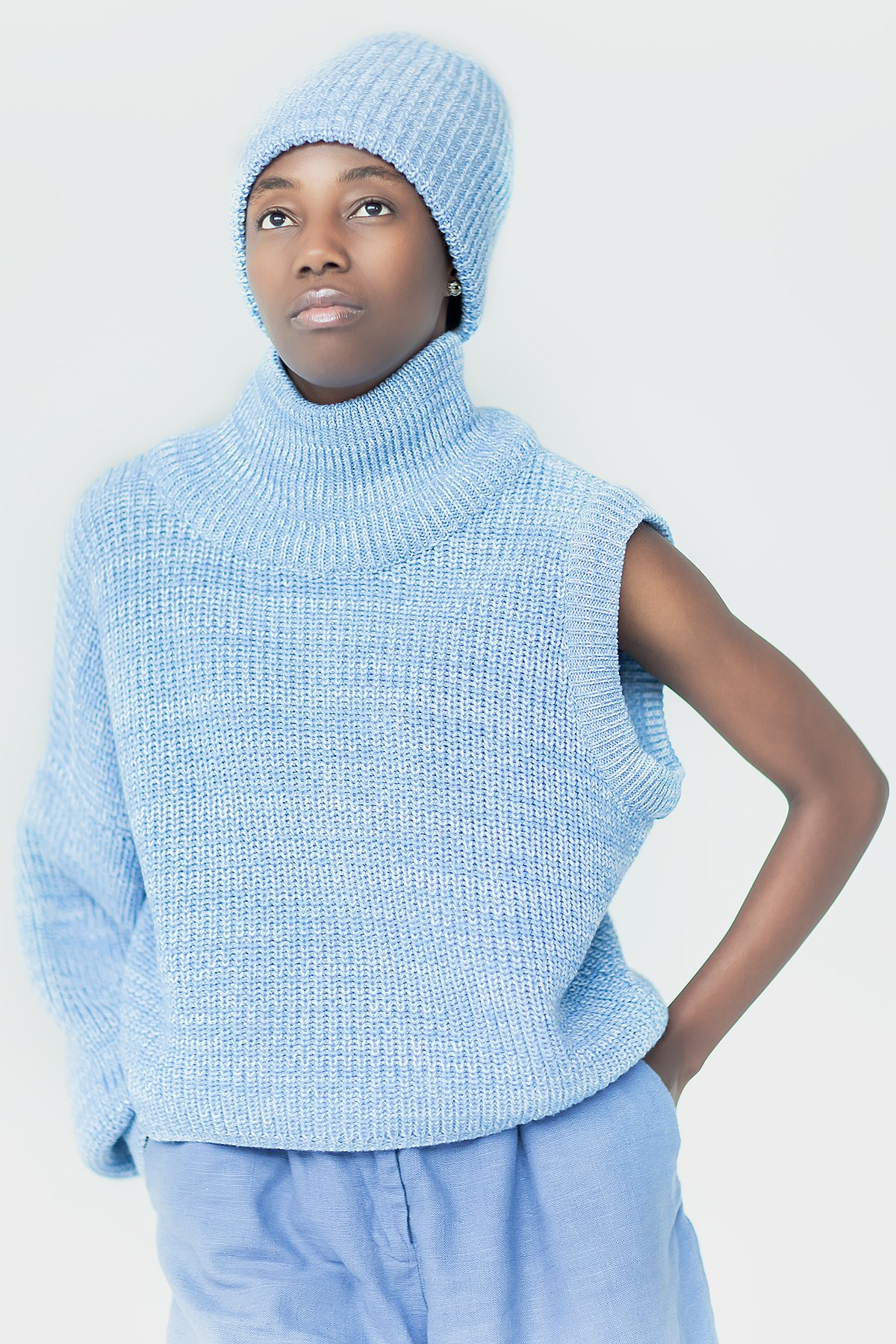 One shoulder sweater One sleeve knit sweater One sleeve knit pullover Light blue sweater Light blue top Blue turtleneck pullover