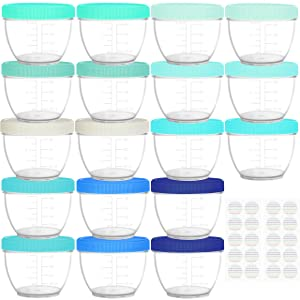 Youngever 18 Sets Baby Food Storage, 4 Ounce Baby Food Containers with Lids, 9 Coastal Colors, with Lids Labels