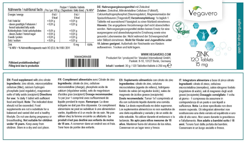 Zinc Vegavero® | 15 mg | Testado en Laboratorio | Sistema Inmunológico + Cabello y Piel + Antioxidante + Testosterona | 120 Comprimidos | Apto Para ...