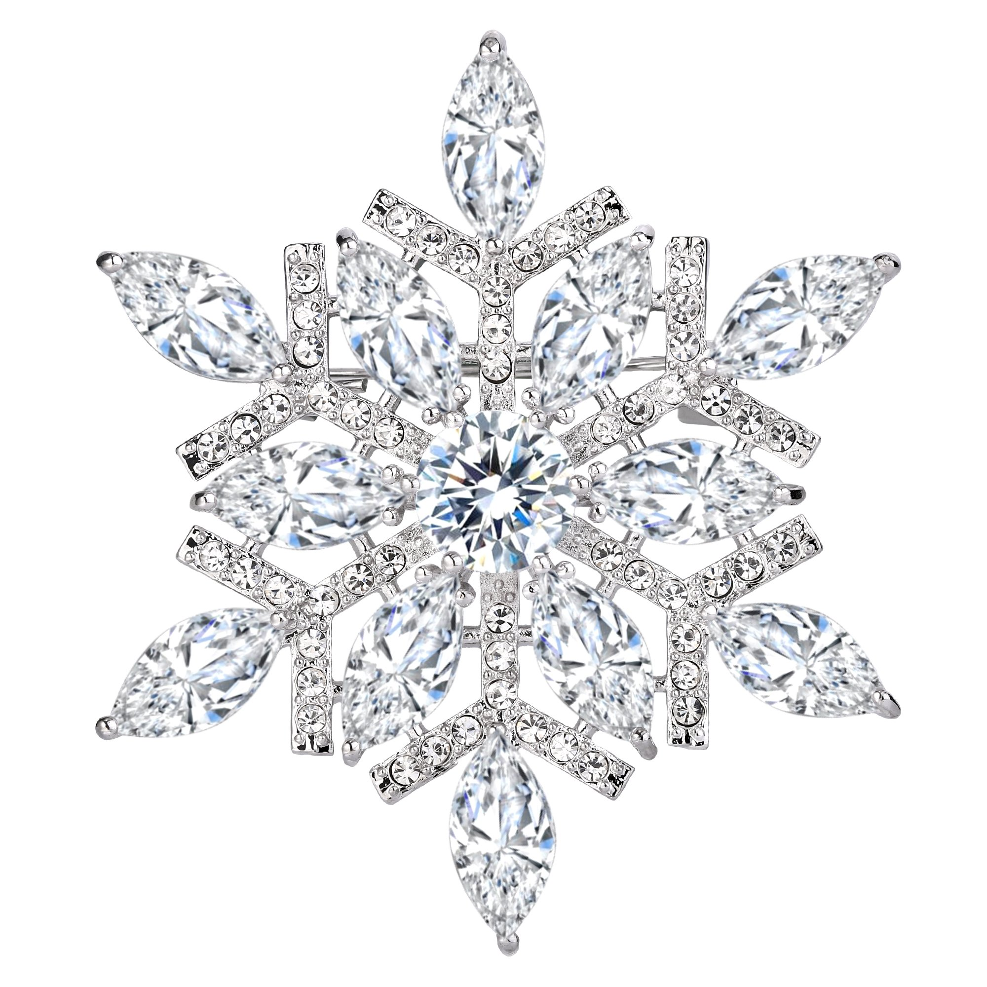 EVER FAITH Women's Full CZ Marquise Shape Winter Snowflake Corsage Brooch Pin Clear Silver-Tone