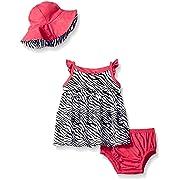 Gerber Baby Three-Piece Sundress, Diaper Cover and Hat Set, Zebra, 18 Months