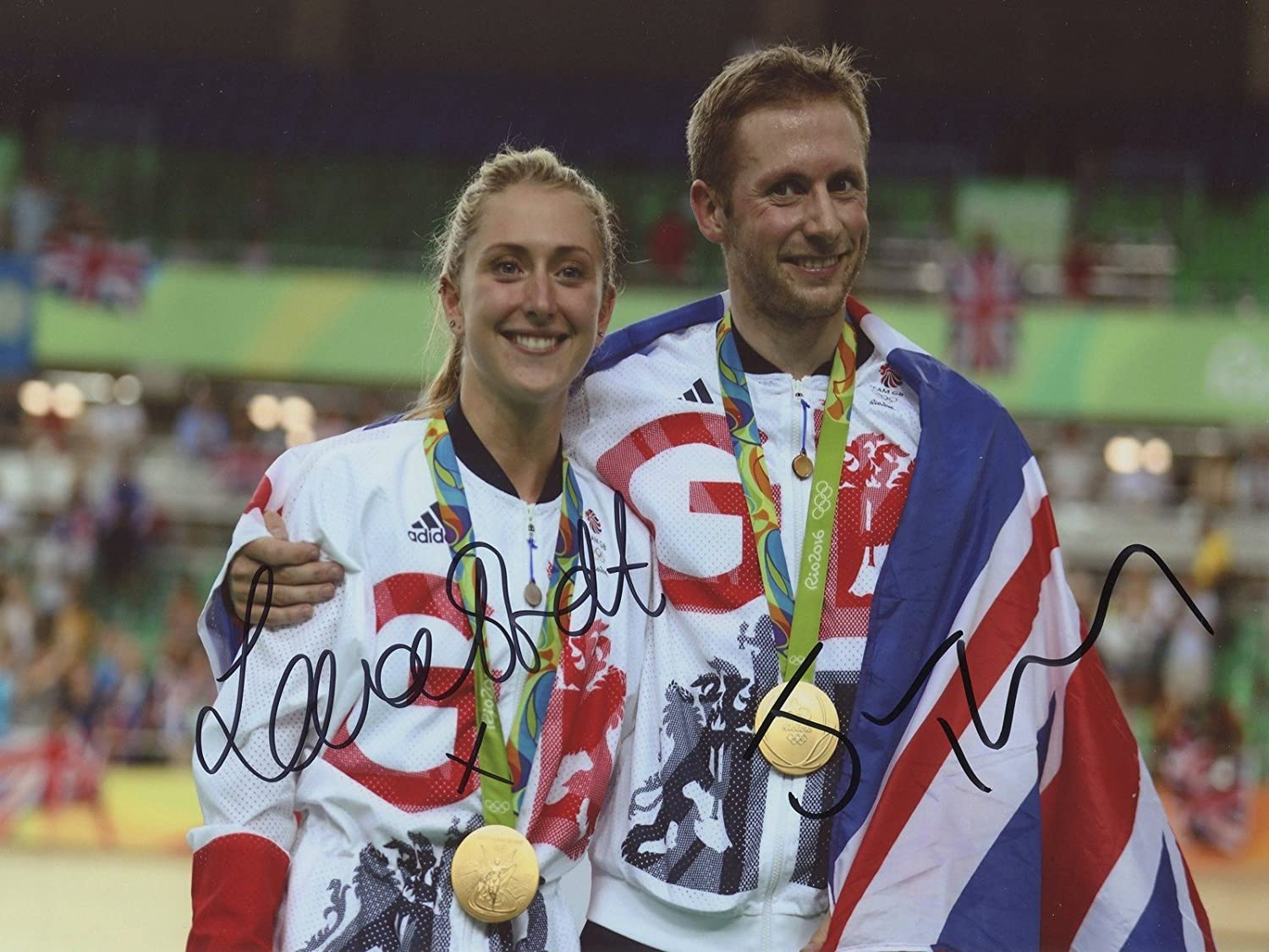 Laura Trott & Jason Kenny Rio 2016 Olympische Hand Signed 12 x 8 Photo img012authentic + Echtheitszertifikat