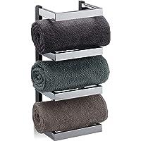 Relaxdays, Zilver/zwart handdoekrek design, vakken voor handdoeken, chroom, hangend handdoekrek, h x b x d: 44 x 18 x 16…