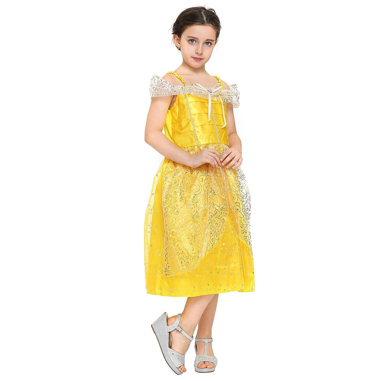 4f967e81d7 La Bella y la Bestia Vestido de Bella Color Amarillo 122 130 Katara 1749   Amazon.es  Juguetes y juegos