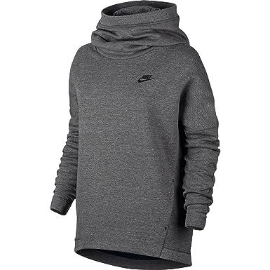 e5e010696dba Nike Sportswear Tech Fleece Women s Longsleeve Pullover Hoodie Grey Black  844389-091 (Size