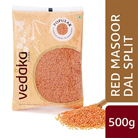 Amazon Brand - Vedaka Popular Red Masoor Dal Split, 500g