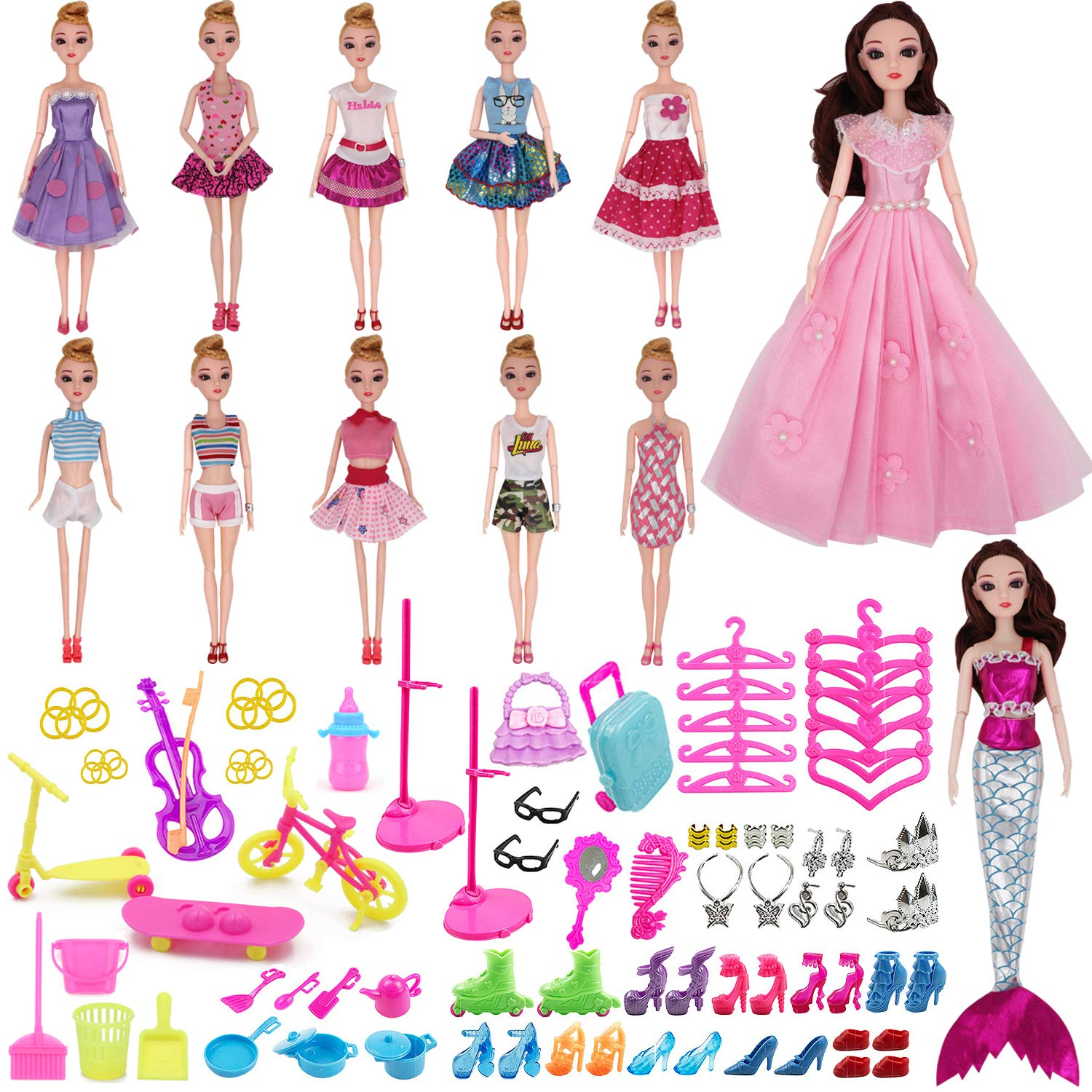 362c5df595472 EuTengHao 89Pcs Doll Clothes and Accessories for Barbie Dolls Set Include  10 Different Party Grown Outfits for Barbie Doll, 77 Doll Accessories,1 ...