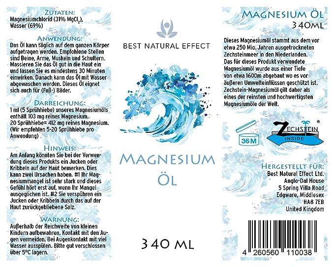 Magnesio aceite 340 ml, 100% ZECH piedra Inside, de alta calidad, a muscular & Wade Espasmos, dormir problemas uvm. || Best Natural Effect: Amazon.es: ...