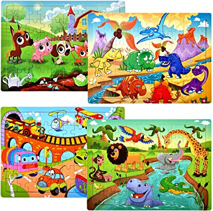AOGER Puzzles for Kids Ages 4-8 Year Old 40 Pieces Colorful Wooden Educational Toys for 4 5 6 7 8 Toddler Children Learning Educational Tangram Jigsaw Puzzles Toys for Boys and Girls 100 Patterns