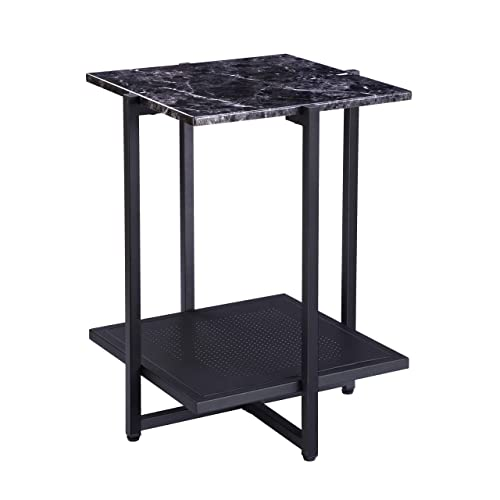 FIVEGIVEN Black Night Stand Marble Side End Table Small Modern Square with Metal Shelf, 24.4 Inch