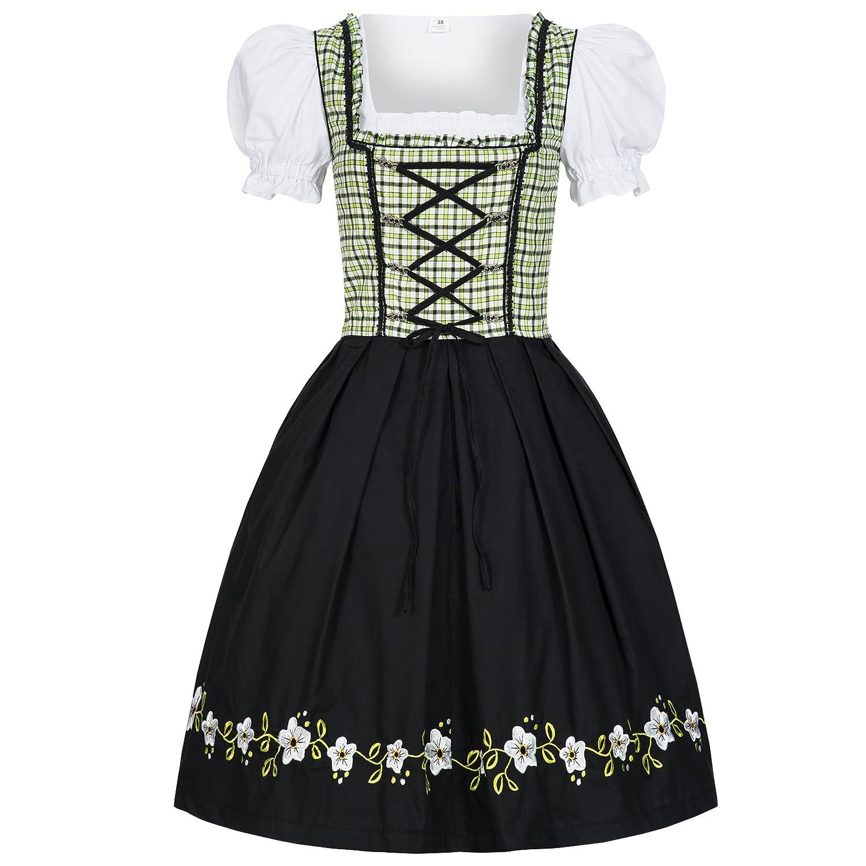 623ab859ac1a4 Bongossi-Trade Dirndl 3 TLG.Trachtenkleid Kleid, Bluse, Schürze, Gr. 34-46  schwarz grün kariert