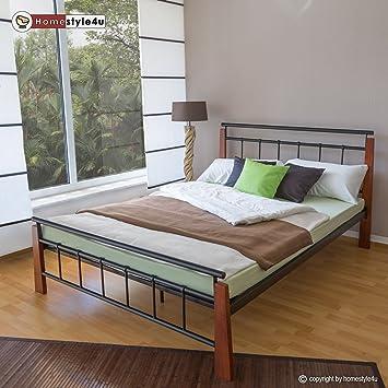 Homestyle4u Metallbett 140 X 200 Bettgestell Doppelbett Bettrahmen +  Lattenrost 5072 Schwarz