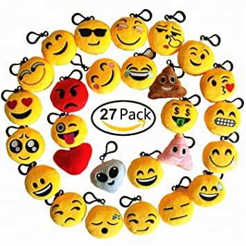 ZhengYue 27pcs Mini Emoji Juguete de Peluche Emoji Llavero Emoticonos emoción para Niños & Adulto Fiesta