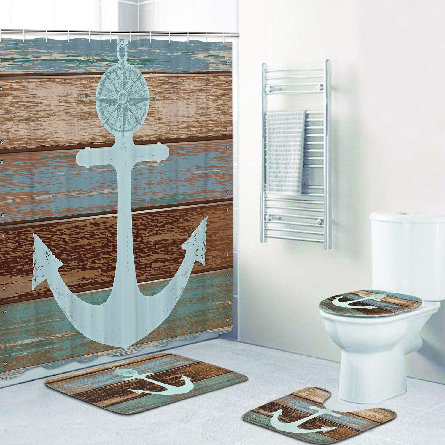 4 Piece Anchor Shower Curtain Sets with Non-Slip Rugs, Toilet Lid Cover and  Bath Mat, Nautical Anchor Rustic Wood Shower Curtain with 4 Hooks,