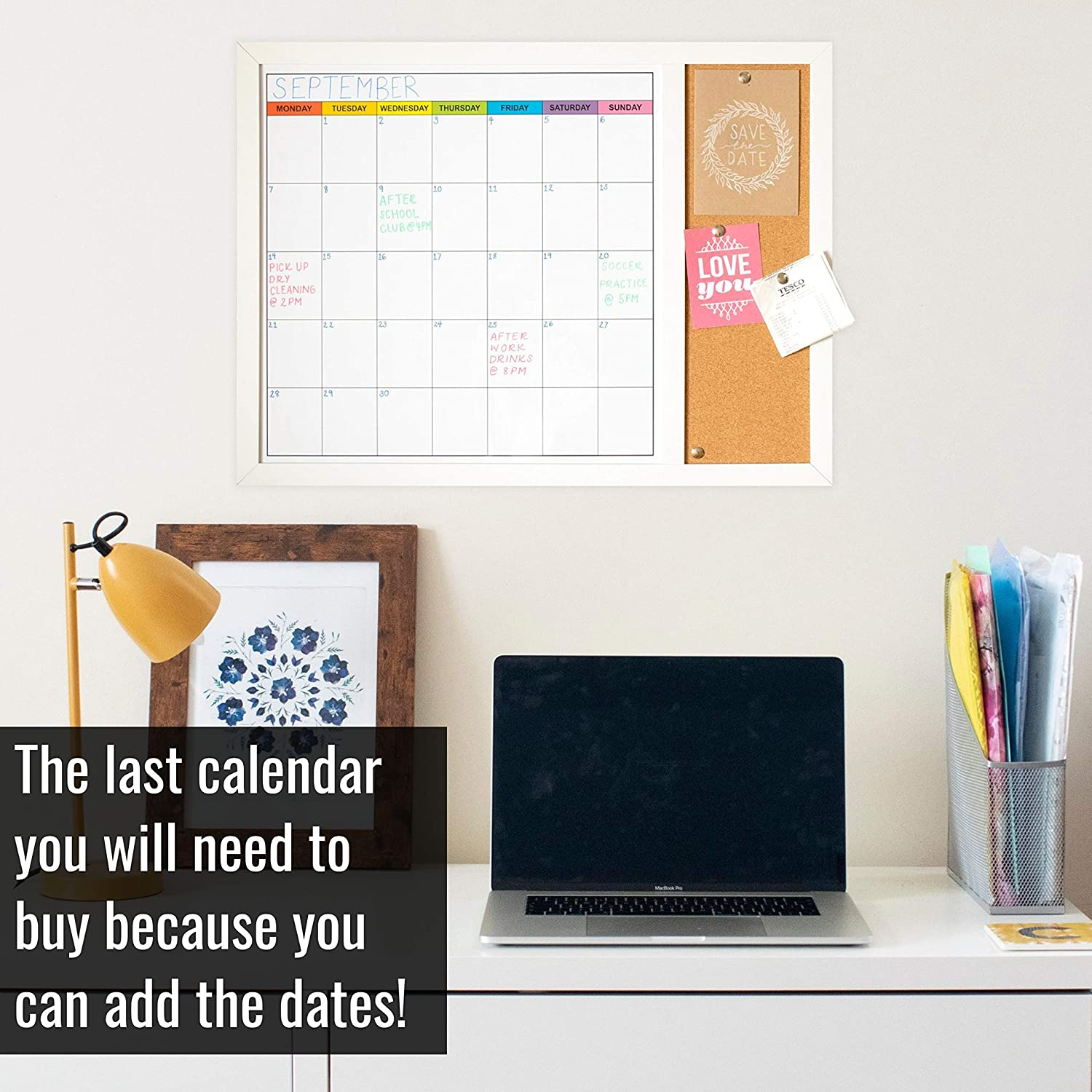 - Magnetic Whiteboard Calendar with Small Cork Board 18in x 24in White Board Dry Erase Monthly Calendar and Notes Dry Erase Calendar Board for Wall Wood Framed Calendar Whiteboard