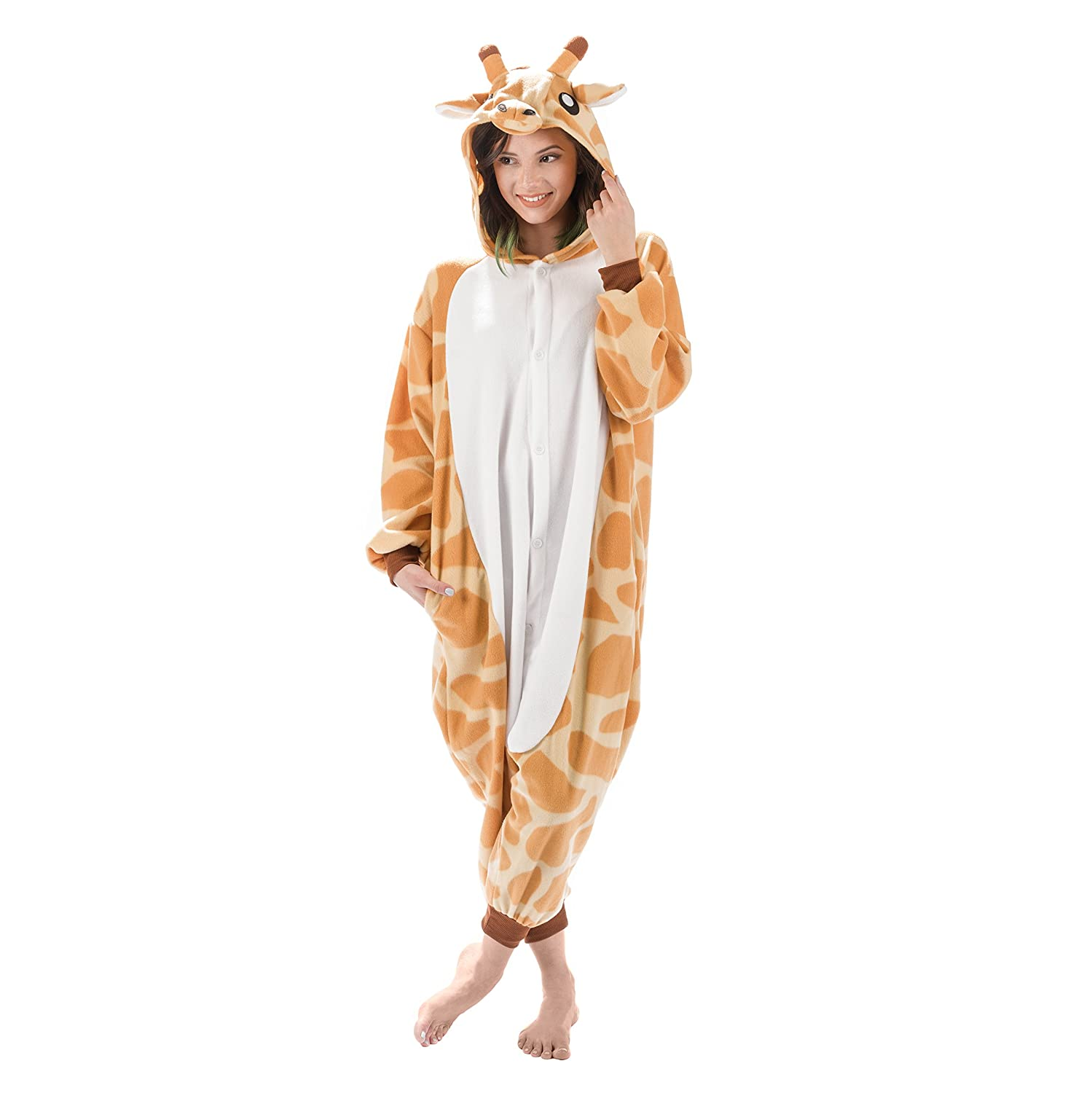 amazoncom emolly fashion adult giraffe animal onesie costume pajamas for adults and teens x large giraffe clothing